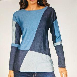 INC Top Tunic Cotton Knit Colourblock L/S New Sz L